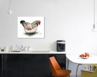 Hen print // hen art print // chicken print // chicken decor // chicken art // chicken lover gift // chicken gifts // country kitchen decor
