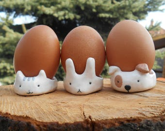 Cute Cat Dog Rabbit Easter Egg Cup Kitchen Ornament / Jewellery Holder Dish Pet Gift  Polymer Clay