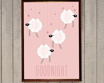 Nursery Illustration, Digital Nursery Print, Nursery Wall Decor, Nursery Art Print, Nursery Animal Print, Nursery Sheep, Scandinavian Print