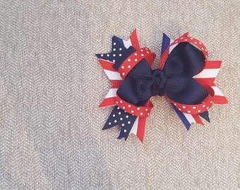 Stacked 4th of July Bow