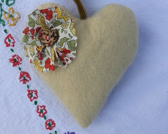 Traditional Heart-Shaped Lavender Hanger, Cashmere and Liberty Print Heart Stuffed with Lavender, English Lavender Bag