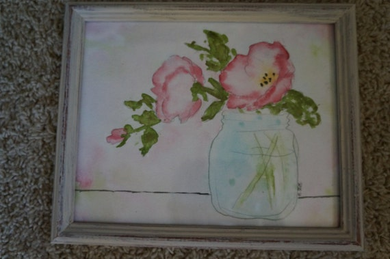 Original Hand Painted Watercolor Pink Flowers in Vase Framed 8x10