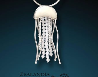 Sterling Silver Jelly Fish Pendant - Hand Carved Bone