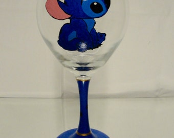 Hand Painted Stitch and Lilo Wine Glasses
