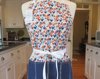 Acute Blue and Orange Made in USA Apron, Womens Apron Chefs Apron Cute Apron Modern Apron