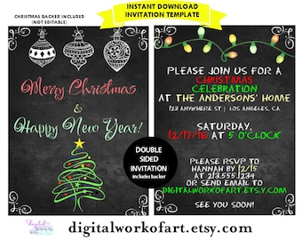 Christmas Invitation Template, DIY Editable PDF Printable Invitation Template Merry Christmas and Happy  New Year, Instant Download