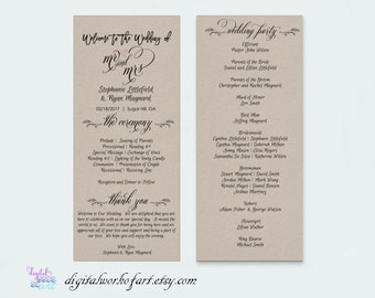 Wedding Program Template Printable DIY Rustic, Calligraphy Typography, Ceremony Printable Template, Editable PDF Template, Instant Download