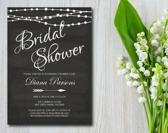 Bridal Shower, Party Invitation, Rustic Chalkboard with Lights, Template, Invite, EDITABLE PDF, DIY, Printable Instant Download E24A