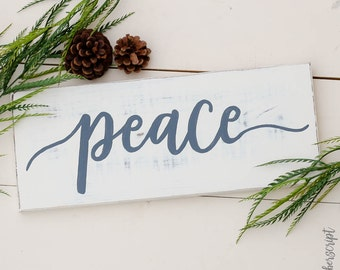 Distressed Christmas Decor / Christmas Mantle / Farmhouse Christmas Sign / Peace / Christmas Wooden Rustic Sign / Holiday Wooden Sign /