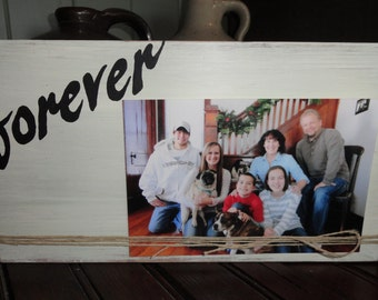 """Ivory & Black """"Forever"""" Reclaimed Wood Picture Frame w/ Fine Jute Twine, 4x6 Wood Picture Frame; Rustic/Country Farmhouse Decor,Wedding Gift"""