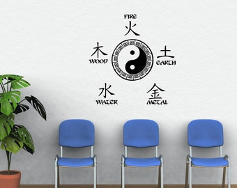 Five Elements decal, Chinese elements decal, yin yang decal, acupuncture decal, five elements, Chinese medicine, 5 elements decal