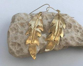 Goldfilled earrings, Dangle earrings, Drop earrings, Gold earrings, Goldfilled dangle earrings, Gold drop earrings, Leave shape earrings,