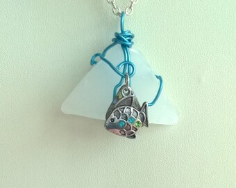 Sea Glass Pendants (Set of 5 Pendants)