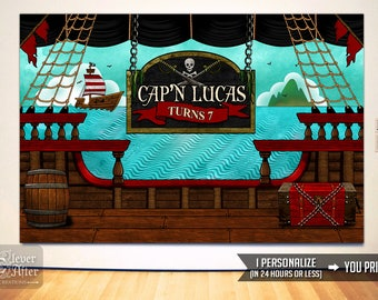 Pirate Backdrop Pirates birthday poster personalized party background pirate ship deck printable mood setter photobooth back drop digital