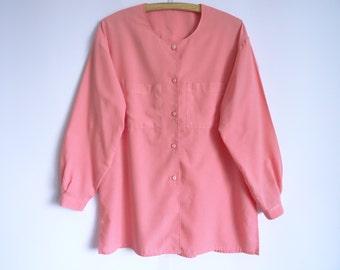 Vintage Pink Shirt / Women Blouse/ Long Sleeves  Women Shirt /Cotton Casual Blouse / Round Collar Size Large
