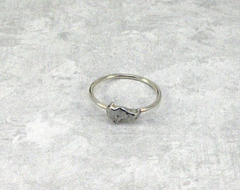 Meteorite Ring Stackable Solitaire Campo del Cielo Sterling Silver size 3