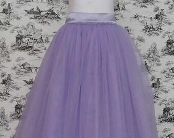 Free Shipping to USA Custom Made Girls Lavender   Floor Length Tulle Skirt -for Flower Girl,Rustic Wedding