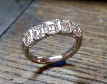 Platinum or White Gold 5 Stone Emerald Cut Diamond Band Diamond Ring Anniversary Band Wedding Band Prong Set