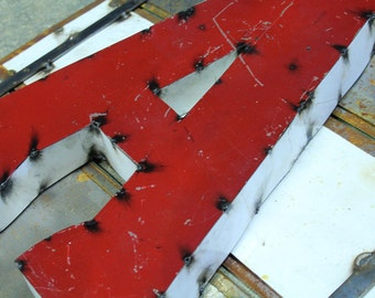 """Industrial Metal Letter A, 20"""" Recycled, Block Letter A Sign, 2-Tone Red & Teal, white sides"""