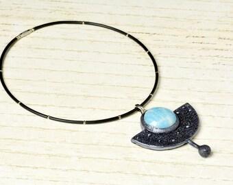 Silver tone geometric shape pendant with light- blue stone of polymer clay Geometric pendant Pendant light- blue Silver blackened pendant