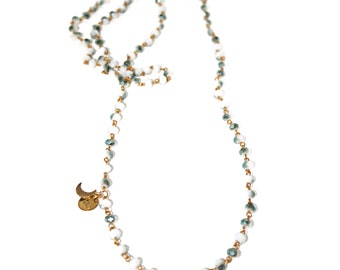 Petite Lune Signature Rosary style necklace - White/Titanium Green