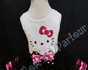 Hello Kitty Tutu, Pink and Black Hello Kitty Tutu, Polka Dot Hello Kitty Tutu, glitter trim tutu