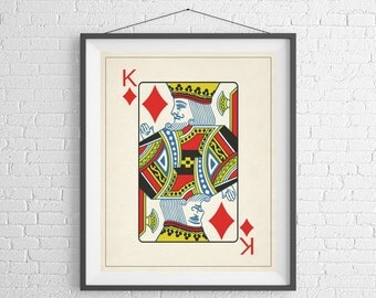 King of Diamonds, Playing Card Art, Game Room Decor, Game Room Art, Poker Gifts, Gambling Gift, Office Wall Art, Man Cave Art, Bar Decor