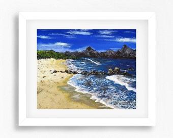 Beach Painting, Beach Print, Beach Decor, Beach Art, Coastal Art Prints, Beach Wall Art, Printable Beach Art, Colourful Coast Painting Print