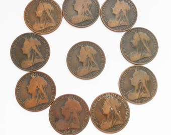 Antique Queen Victoria Penny Coins X 10, Bronze Pennies from 1897-1901, for Crafts or Pendants