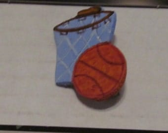 Basketball Jewelry Pin - handcarved and handpainted