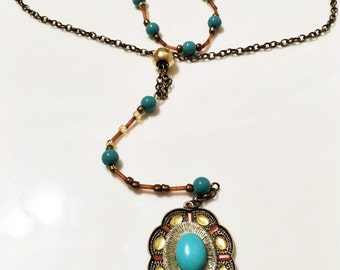 Double stranded antique chain choker and turquoise necklace