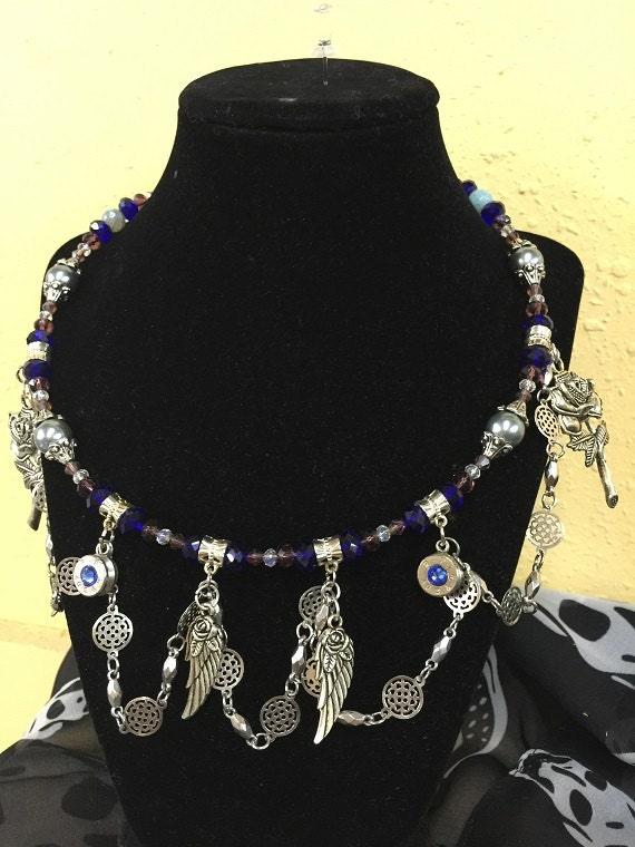 womens biker jewelry wings blue by wrapyourbones