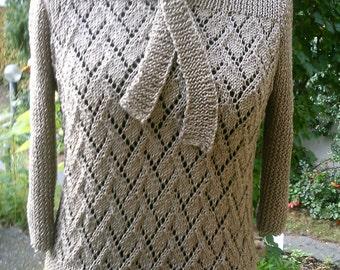 Ajour sweater, sisal, 40-42 (M-L) with binding collar