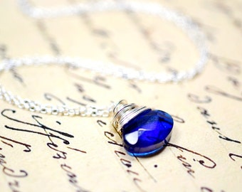 Navy Blue Briolette Necklace, Wire Wrapped Cobalt Blue Glass Crystal, Sterling Silver Chain Dark Blue Pendant
