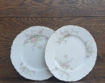 1930's China- Dessert/Pie Plate. Vintage, White, Pink Flowers, Gold Trim.  Jean, by Homer Laughlin. Made in U.S.A. Floral Pattern.