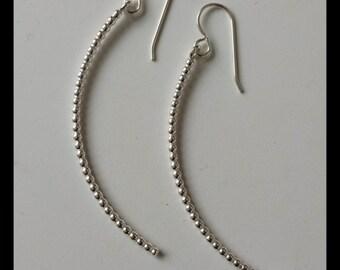 sterling silver long curved earrings