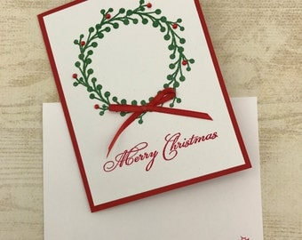 Christmas Wreath Card - Merry Christmas Card - Holly Wreath Card - Helen Steiner Rice Verse - Red and White Christmas Card - Christian Card