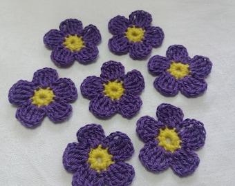 Crochet flower 5 cm cotton set of 7 flowers