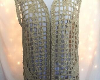 Metallic Gold Open Knit Sweater Vest