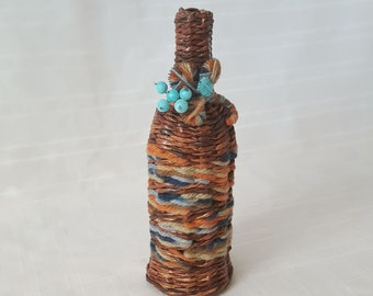 Handmade Paper Wicker Wine Bottle Fall Decor Anniversary Birthday gift Unique Home Decor