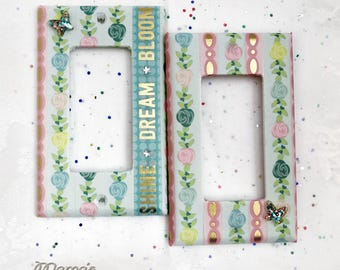 """Vintage Looking 'Shine Dream Bloom' Matching Switchplates, 2.75"""" x 4.5"""", Pink, Blue, Gold, Roses, Butterflies, Girl's Room, Handmade, Pretty"""