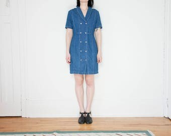 80s Denim Double Breasted Dress / Size 8