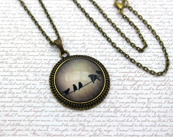 Birds on a Wire, Bird Silhouette, Nature Necklace or Keychain, Keyring