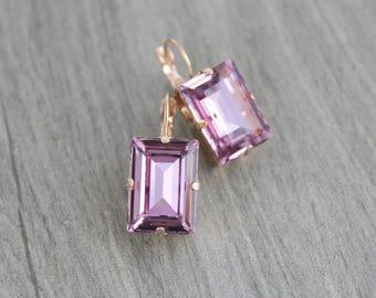 Rose gold Bridal earrings, Crystal Wedding earrings, Wedding jewelry, Swarovski earrings, Amethyst earrings, Rose gold earrings, Vintage