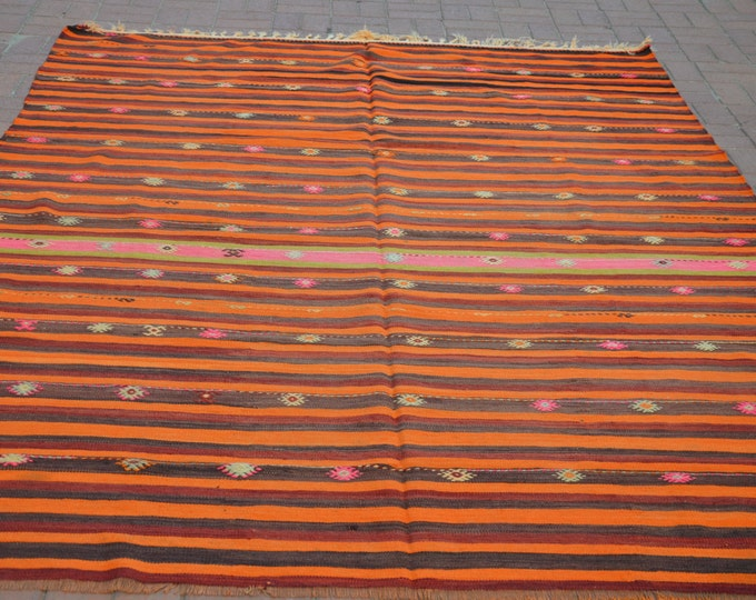 "CHRISTMAS SALE %7 Orange Bohemian Rug, 83.2"" x 120"" / 208 x 300 cm, Turkish Kilim Rug, Large Kilim Rug, Turkey Rugs, Kelim Teppich"