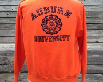 Vintage 80s AUBURN UNIVERSITY TIGERS Sweatshirt - Medium / Small - Soft & Thin