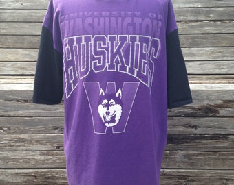 Vintage 90s Washington Huskies Hooded T Shirt - XL / 2XL - University - Oversized