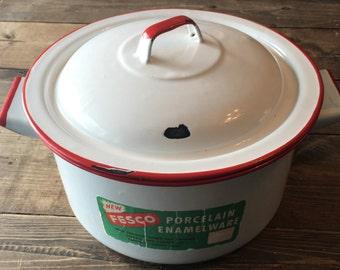 Vintage Fresco Enamelware White/Red Stock Pot