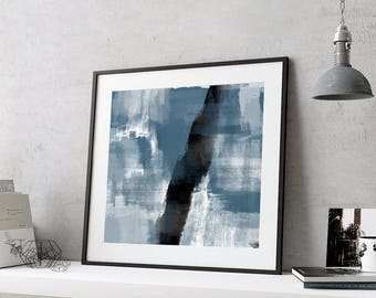 Printable art, Indigo Print, Navy Blue Artwork, Indigo Abstract Print, Brushstroke Print, Indigo Wall Art, Abstract Print, Printable Poster