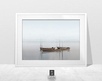 Boat photo landscape, Fog Photo, Mist Photography, Fog Landscape art, minimalist art, landscape print, nature art photography, Fishing Boat